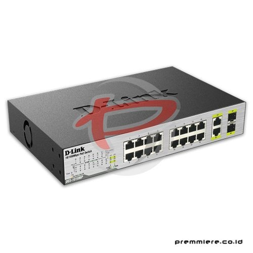 18-Port Fast Ethernet Max PoE Switches with 2 Gigabit Uplink Ports [DES-1018MP]